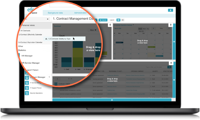 Efecte Enterprise Contract Management ECM Custom Dashboard