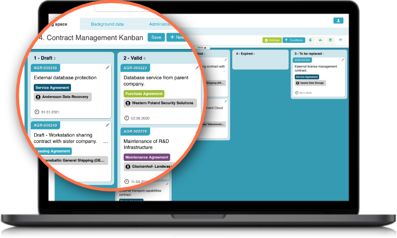Efecte Enterprise Contract Management ECM Kanban board