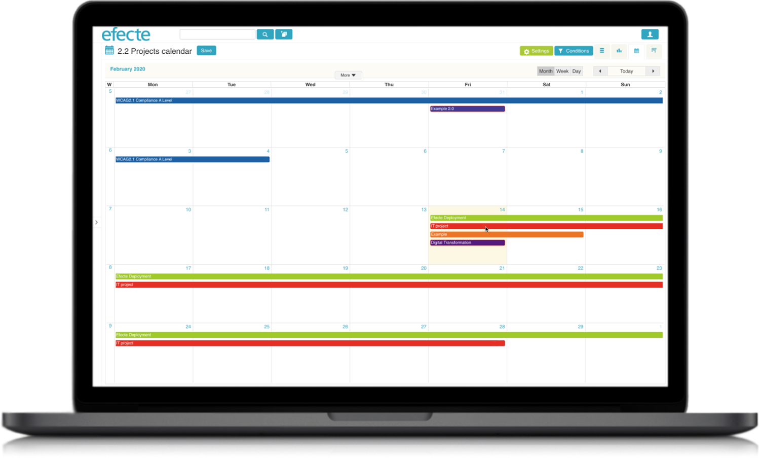 Project Management Calendar View